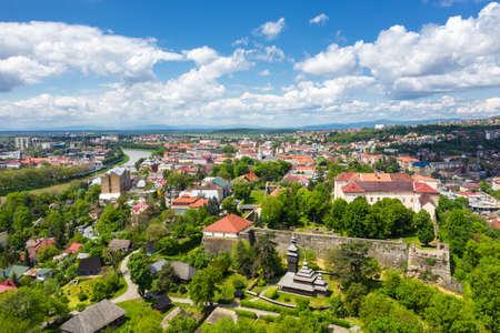 Castle in Uzhgorod aerial panorama city view
