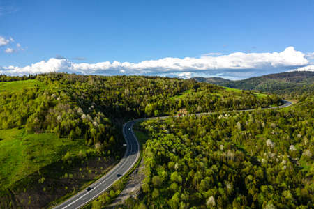 Long Curvy Forest Road In Mountains aerial view