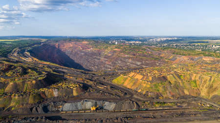 Open Pit Iron Ore Quarry Panoramic Industrial Landscape Aerial View Zdjęcie Seryjne