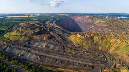 Coal Mining Open Pit Mine Aerial Black View