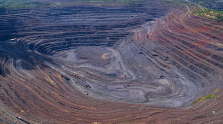 Open Iron Ore Quarry Aerial Top View