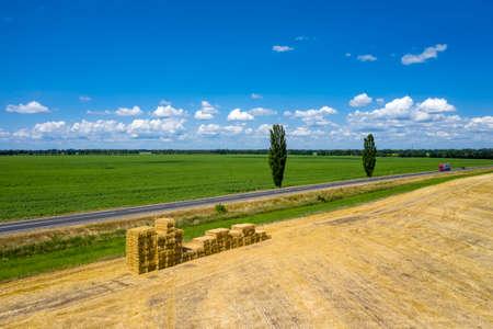 Asphalt road in the countryside aerial view Zdjęcie Seryjne