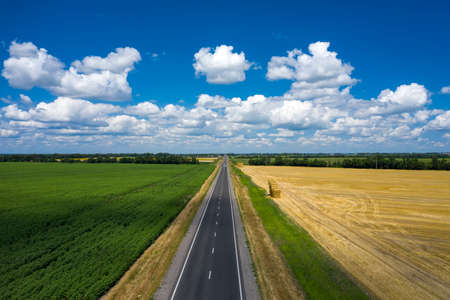 Asphalted narrow country road at the summer day aerial view
