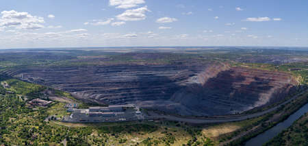 Open Pit Iron Ore Quarry Panoramic Industrial Landscape Aerial Panorama View Zdjęcie Seryjne