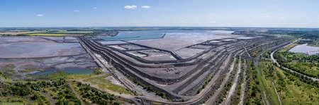 Tailing dump in Kryvyi Rih aerial panorama view