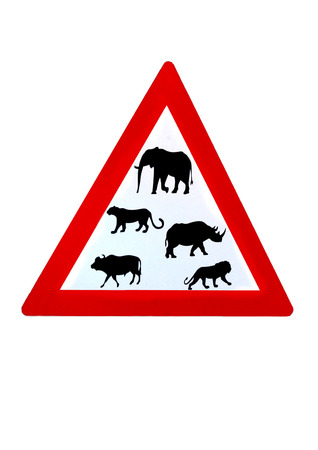 big five: Wildlife big five from South Africa on road sign triangle, red on white background