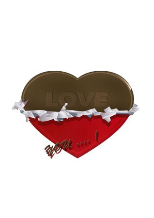 chocolate heart on white background, half wrapped saying i love you photo