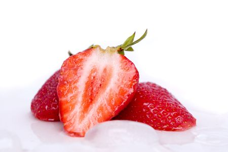 rich flavor: Sliced strawberry on ice cube Stock Photo