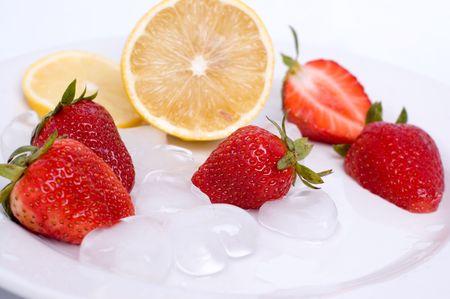 Fruits - strawberry and lemon photo