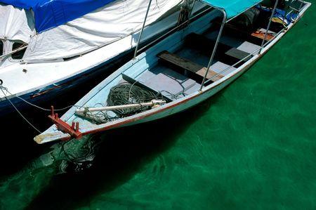 Closeup fisherman boats Stock Photo
