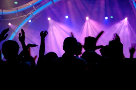 performace: People enjoying the concert - shilloute Stock Photo