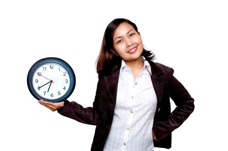 rushing hour: Women holding a clock