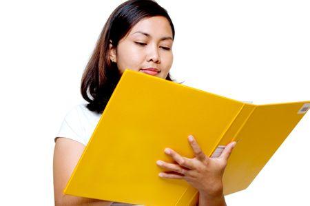 Women holding a yellow file photo