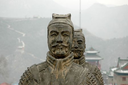great hall: Warrior statue in Great Wall of china Editorial