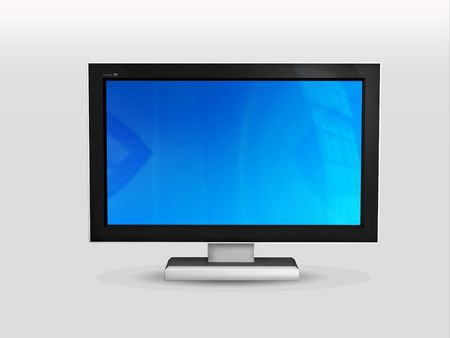 itc: Front view of plasma or LCD TV- 3d rendered on white background