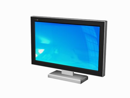 itc: Plasma or LCD TV- 3d rendered on white background