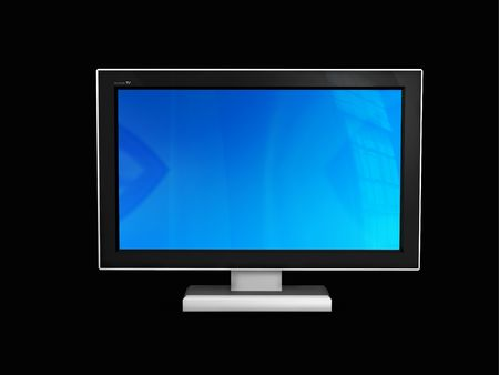 itc: Front view of plasma or LCD TV- 3d rendered on black background