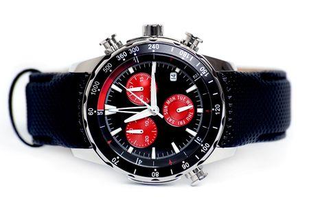 human wrist: Chronography watch on white background