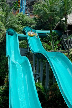 theme park: Water slide in the theme park