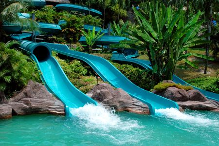 themes: Water slide in the theme park