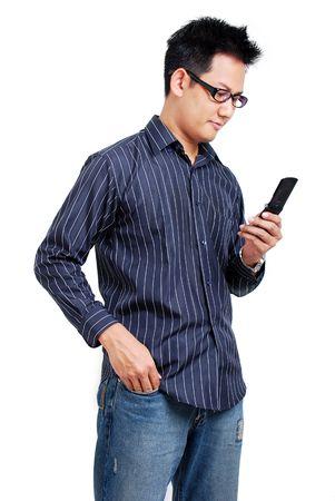wijzerplaat: Man met mobiele telefoon