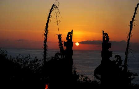 Sunset scenery in Uluwatu Temple, Bali Indonesia photo