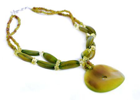 緑の石のネックレス 写真素材