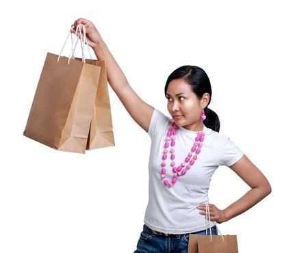 shoppe: Women holding a shopping paper bags