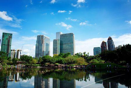 klcc: City scenery - KLCC lake nearby Petronas twin towers Stock Photo