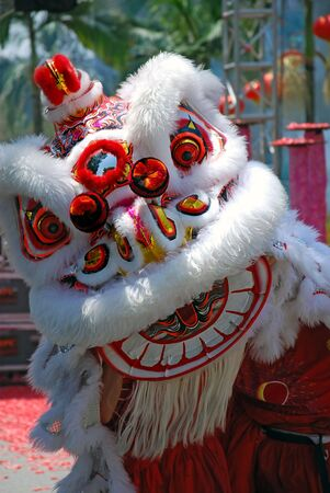 new year dance: Chinese new year lion dance Stock Photo