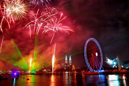 Fireworks at eyes on Malaysia Stock Photo