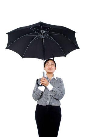 傘を保持する女性 写真素材