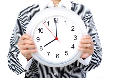 o�??clock: Mujeres que ocupan blanco reloj (ocho)
