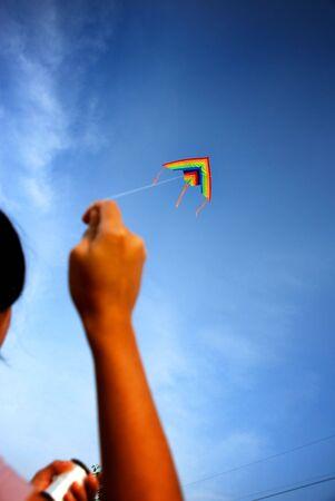 Outdoor kite flying activity Stock Photo