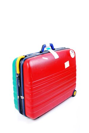 Travel luggage with airport stickers