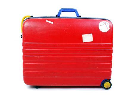 白い背景の上の堅い場合の荷物 写真素材