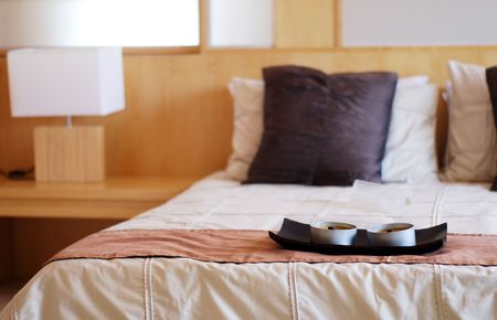 Modern bed room interior focus on the candles Stock Photo - 864075