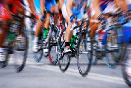 ズーム効果で自転車レース 写真素材