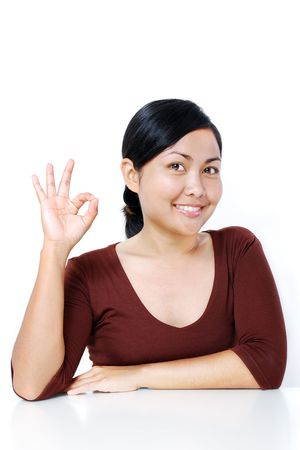 [Ok] を持つ女性の手の記号 写真素材