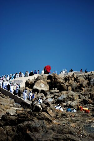 overthrown: Mount of mercy (Jabal Rahmah) - This is the place where Adam and Eve met after being overthrown from heaven Stock Photo