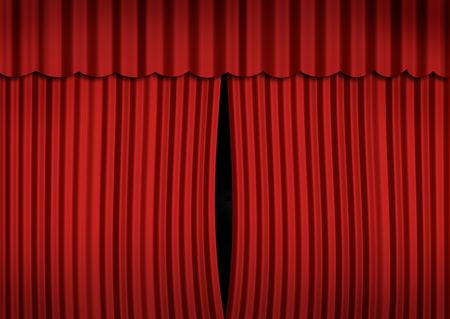 slightly: Stage with slightly open curtain