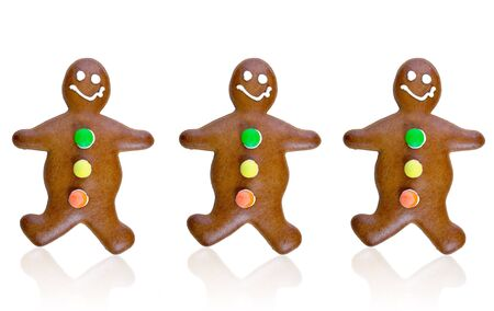 Gingerbread friends on white background photo