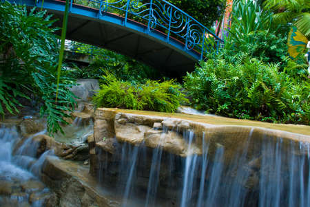 coo: Garden with waterfall Stock Photo