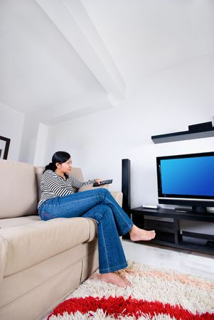 theaters: Women watching television Stock Photo
