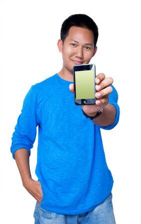Man holding PDA Editorial