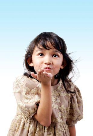 flying kiss: Children give flying kiss Stock Photo