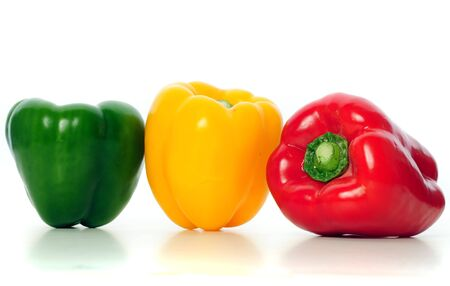 Bell peppers on white background photo