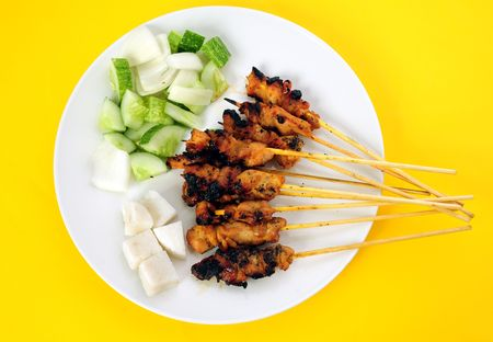 indonesian food: Satey on the white plate Stock Photo