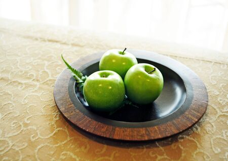 Still life of green apples photo