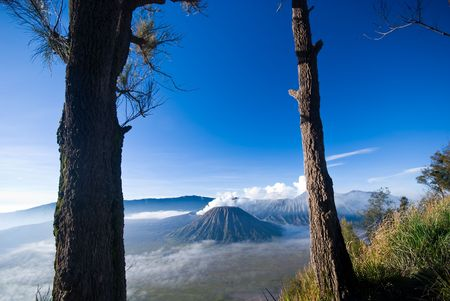 tengger: Mount Bromo located in Tengger Caldera, East Java Indonesia Stock Photo